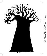 black silhouette of baobab