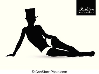 Black silhouette of beautiful woman