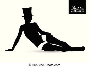 Black silhouette of beautiful woman
