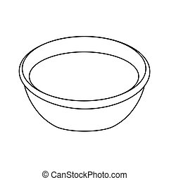 black silhouette of bowl- vector illustration