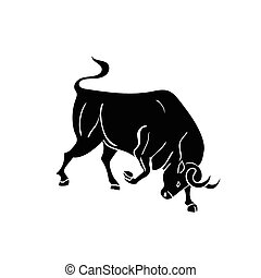 black silhouette of bull