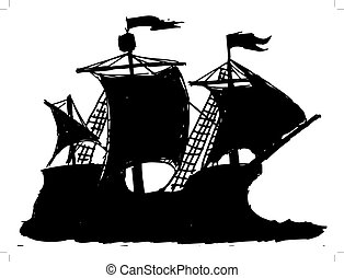 caravel - black silhouette of caravel