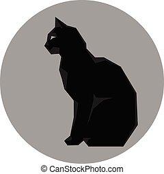Black silhouette of cat dark wild vector
