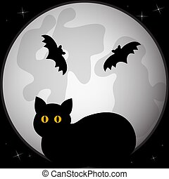 Black silhouette of cat in front of the full moon.