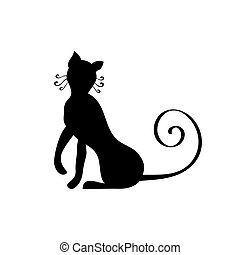 Black silhouette of cat. Vector illustration