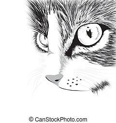 Black silhouette of cat. Vector illustration.