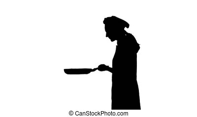 Black silhouette of chef is frying and sniffing a dish. -...