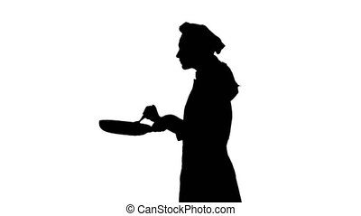 Black silhouette of chef lady stirring food in pan with...