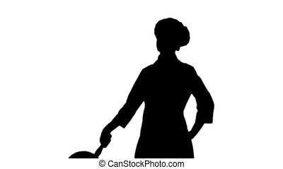 Black silhouette of chef woman is posing with a stewpot. -...