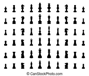 silhouette of chess pieces - Black silhouette of chess...