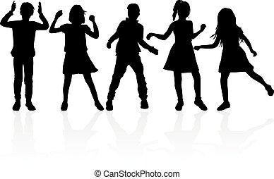 Black silhouette of children on white background.