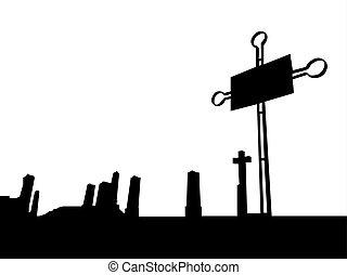 Black silhouette of christian cemetery
