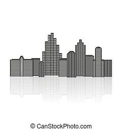 Black silhouette of city