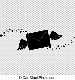 Black silhouette of closed envelope with wings and hearts confetti.