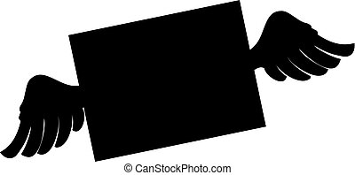 Black silhouette of closed envelope with wings.