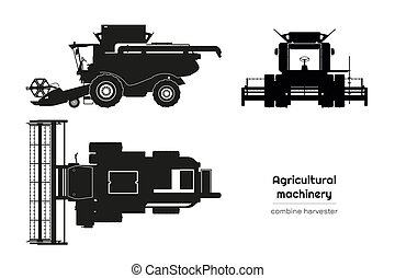 Black silhouette of combine harvester. Side, front and top view of agriculture machinery. Farming vehicle. Industrial isolated drawing. Vector illustration