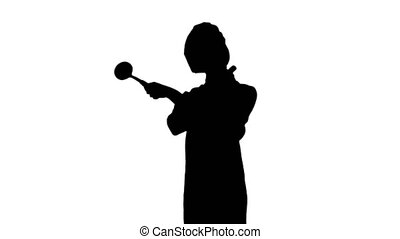 Black silhouette of cook crossing arms holding rolling pin...