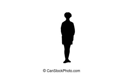 Black silhouette of cook woman raising hands and head up.