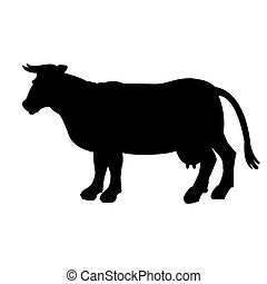 Black silhouette of cow isolated on white background.