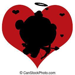 Black Silhouette Of Cupid
