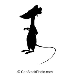 Black Silhouette of Cute Cartoon Rat Isolated on the White Background. Flat Style. Vector Illustration