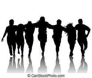 silhouette of dancing group