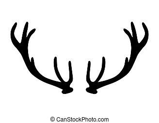 black silhouette of deer antlers- vector illustration