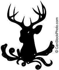 Black silhouette of deer head, on white background.