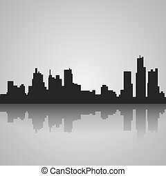 Black silhouette of Detroit with reflection. Vector...