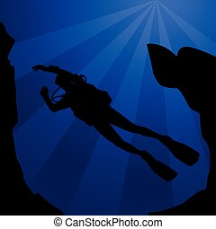 Black silhouette of diver - scuba diving