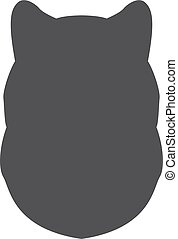 Black silhouette of dog head on a white background. Vector illustration