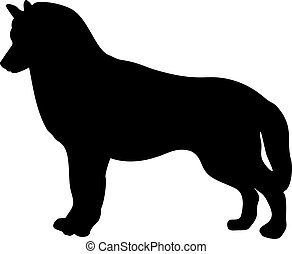 Black silhouette of dog standing backways isolated on white background