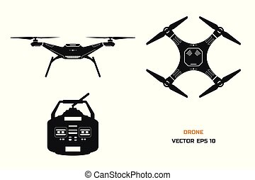 Black silhouette of drone on a white background. The control panel of quadrocopter . Front, top view