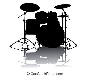Black silhouette of drum-type installation on a white background