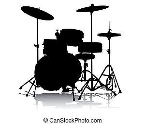 drum-type installation - Black silhouette of drum-type ...