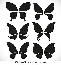 Black silhouette of fairy wings different form for cutting set 1 isolated on a white background