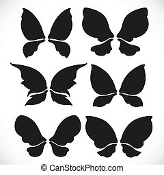 Black silhouette of fairy wings different form for cutting set 2 isolated on a white background