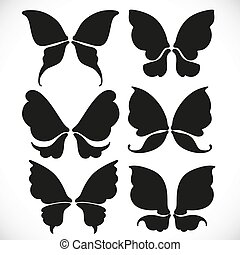 Black silhouette of fairy wings different form for cutting set 3 isolated on a white background