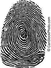 Black silhouette of fingegerprint scan