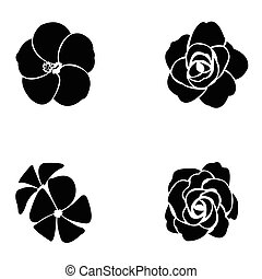 Black silhouette of flower set