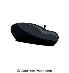 Black silhouette of french beret vector Illustration isolated on a white background