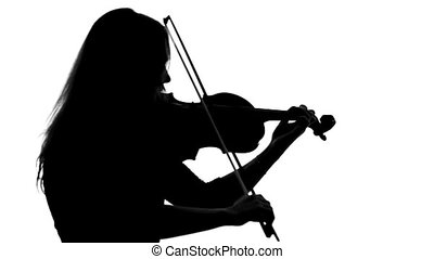 Black silhouette of girl in a dress playing the violin