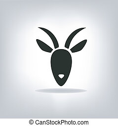black silhouette of goat on a light background