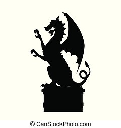 Black silhouette of gothic statue of dragon. Medieval...