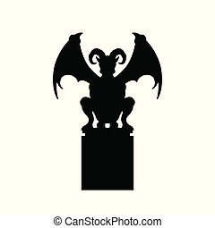 Black silhouette of gothic statue of gargoyle. Medieval...