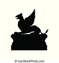 Black silhouette of gothic statue of griffon. Medieval architecture. Side view of stone cathedral sculpture. Isolated image on white background