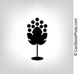 Black silhouette of grape. Vector illustration.