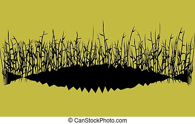 black silhouette of grass on yellow sky background