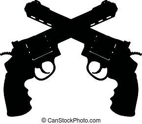Black silhouette of guns