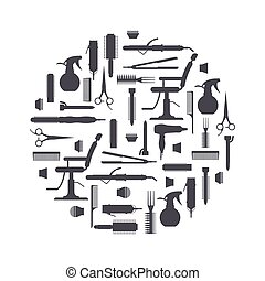 Black silhouette of hairdresser objects in flat style isolated on white background. Hair salon equipment and tools logo icons, hairdryer, comb, scissors, chair, hairclipper, curling, hair straightener.